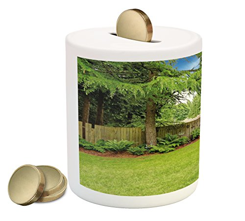 Ambesonne Farmland Piggy Bank, Backyard Area Shadow Under Pine Trees Featured Rustic Fence Outdoor Photography, Printed Ceramic Coin Bank Money Box for Cash Saving, Green