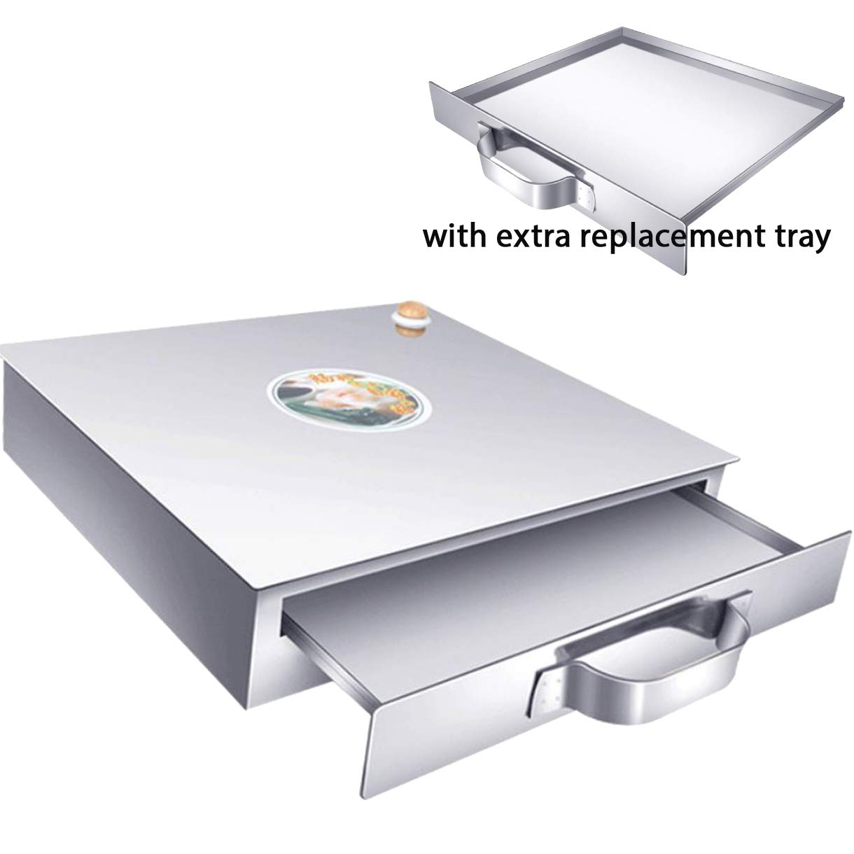 Chinese Rice Noodle Roll Food Steamer with Extra Tray 430 Stainless Steel Square Tier/Layer Cooking Cuisine Guangdong Recipes Cookware (1-Tier)