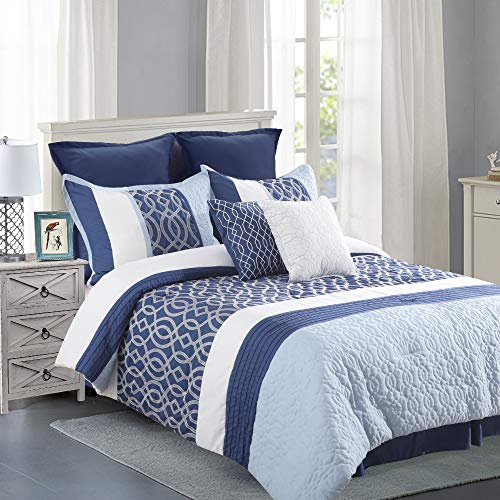 8 Pc Embroidered Quilted Comforter Set Oversized Queen(92