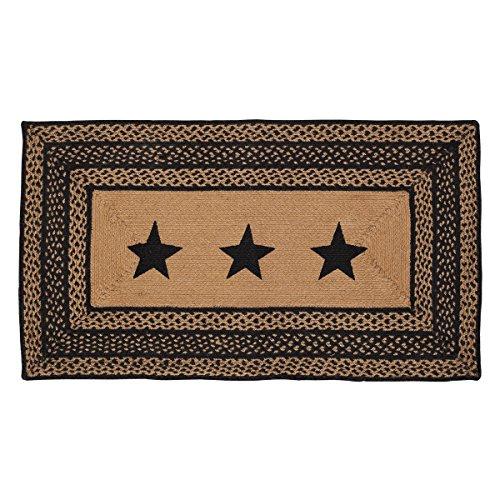 VHC Brands 9808 Classic Country Primitive Flooring - Farmhouse Jute Black Stenciled Stars Rug, 27x48,