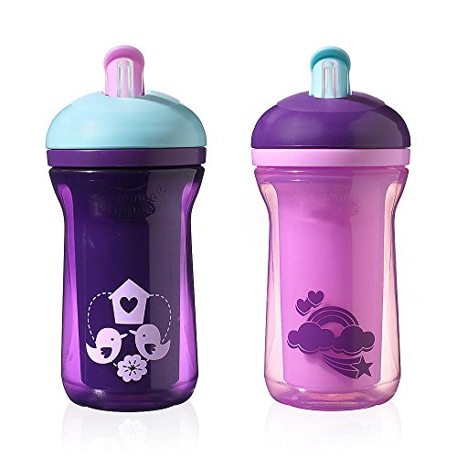 Tommee Tippee 2 Pack 9 Ounce Insulated Straw Cup (Explora Easiflow Truly Spill Proof - Purple & Pink)