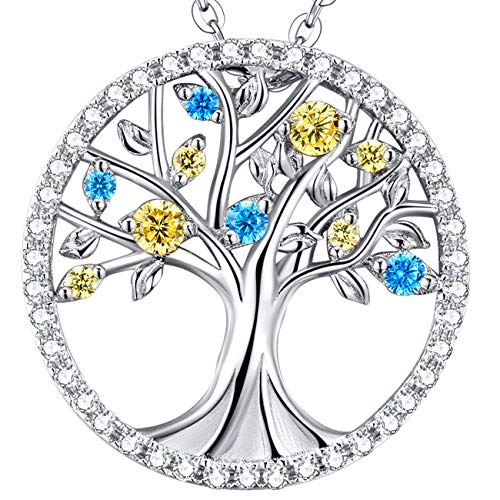 Tree of Life Necklace March Birthstone Aquamarine November Birthstone Citrine Necklace Sterling Silver Jewelry Birthday Gifts for Mom Wife Women Girls Love Family Anniversary Gifts