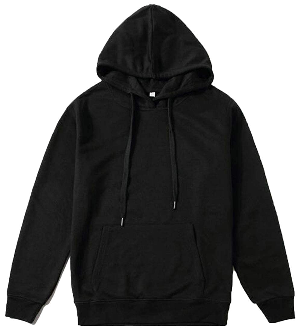 Lutratocro Mens Casual Pocket Slim Fit Drawstring Solid Pullover Hoodies Top