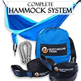 Camping Hammock - Parachute Nylon Deluxe Single With Ripstop - Includes 2-in-1 Compression Sack and Daisy Chain Straps ($30 Value) - Portable Bed for Beach, Travel, or Backyard Fun!