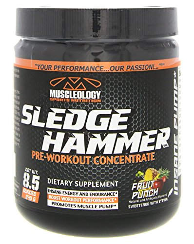 Muscleology Sports Nutrition Sledge Hammer Pre Workout Concentrate Fruit Punch 8 5Oz