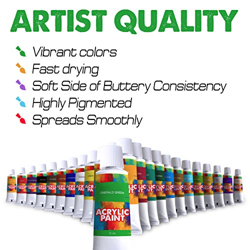 Acrylic paint kit 24 pieces vibrant colors with rich for Fast drying craft paint