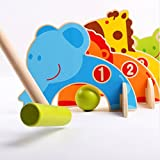 Sports Outdoors Kids Best Deals - Colorful Animal Croquet Set Outdoor Indoor Sports Toys Lawn Games Kids Wood Toys