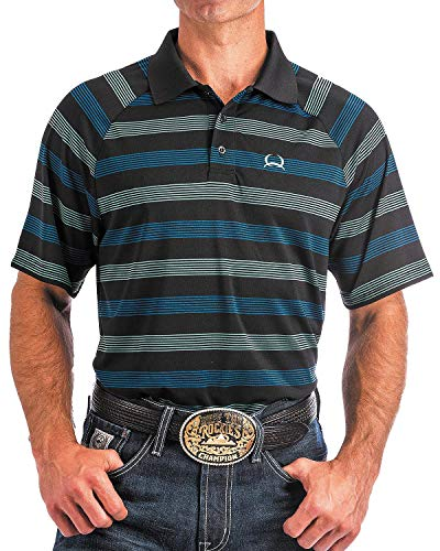 Cinch Men's Arenaflex Striped Raglan Sleeve Tech Polo Black Large (Mens Cinch)