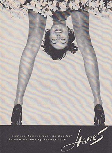 Head over heels on love with Hanes Sheerloc Stockings hosiery ad 1963 NY ()