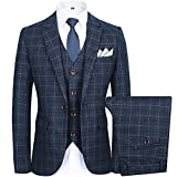 Men's Slim Plaid Modern Fit One Button 3-Piece Suit Blazer Dress Suit Jacket Tux Vest & Trousers (M, grey)