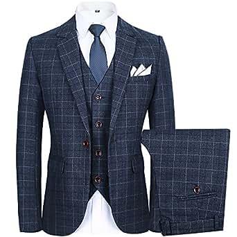 Men's Slim Plaid Modern Fit One Button 3-Piece Suit Blazer Dress Suit Jacket Tux Vest & Trousers (M, grey)