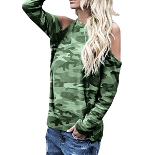 adcb57fc Women Casual Cold Shoulder Knot Design Camouflage Tops T-Shirts Blouse