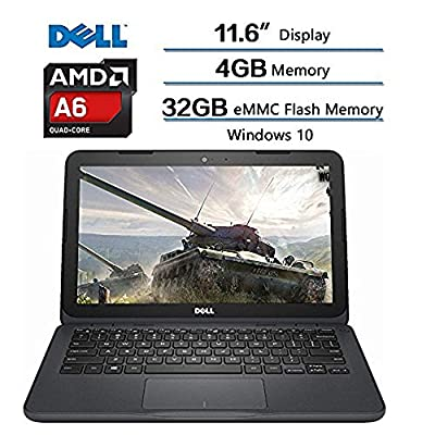 2018 Dell Inspiron Flagship High Performance Laptop, AMD A6-9220e accelerated processor 2.5GHz, 11.6 inch HD (1366 X 768) Display, 4GB DDR4 SDRAM, 32GB eMMC Flash Memory, Windows 10 (Gray)