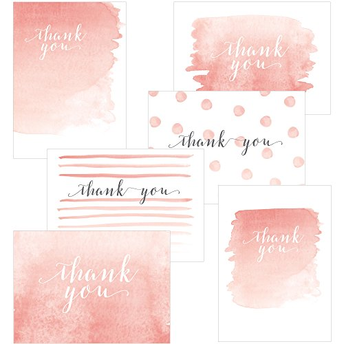 60 Postcards - 4.25 x 6 - Whimsical Watercolor Thank You - 6 Different Images