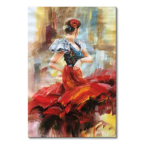 Seekland Art Hand painted Lady Dancing with Red Dress Abstract Canvas Wall Art Impression Oil Painting Modern Contemporary Artwork Fine Pictures Unframed (2024 inch) - Impression Oil Painting