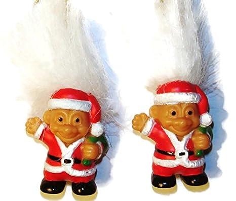 "NEW 2/"" Russ Troll Dolls White Hair CHRISTMAS SANTA EARRINGS"