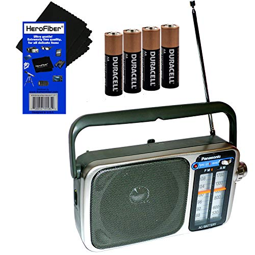 Panasonic Portable AM/FM Radio with Led Tuning Indicator + 4 AA Batteries + HeroFiber Ultra Gentle Cleaning Cloth (Best Portable Am Fm Radio Reviews)