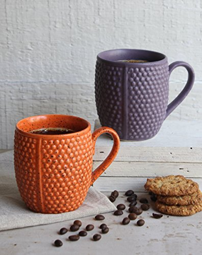 Ceramic Tea Coffee Beer Mug Handcrafted Set of 2 Diamond Design Orange & Purple Pottery Cup with Handles Kitchen Dining Serveware Accessories