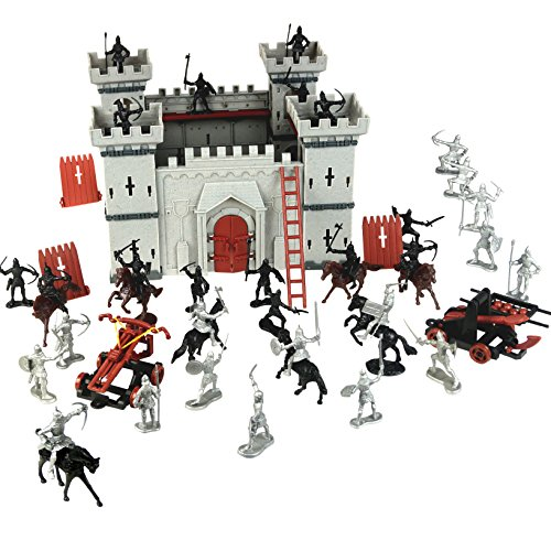 The Medieval Times Middle Ages Military Plastic Fort Model Kit Set With Figures Soldier Knight Simulated Siege War of Attack ()