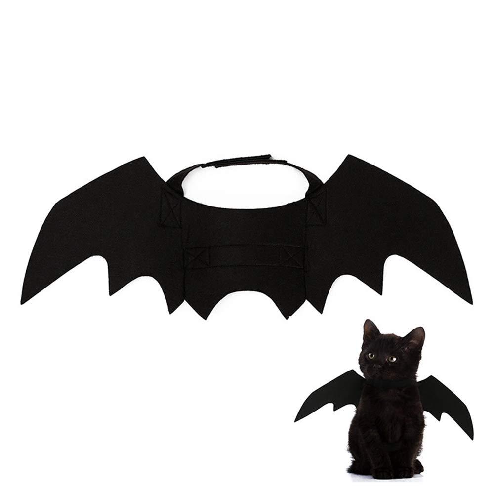 MOGOI Ailes de Chauve-Souris pour Animaux de Compagnie, Bat Cool Design Noir Ailes vêtements Costume Halloween pour Petites/Moyennes Chat Kitty Chien Chiot Cosplay Festival décoration de Partie 6403426566688