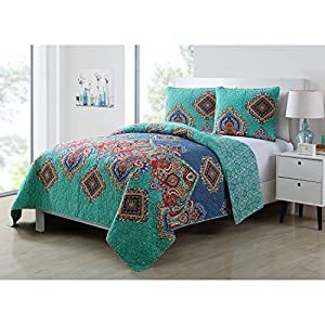 3 Piece Blue Teal Red Orange Purple Coral King Quilt Set Damask Themed Reversible Bedding Medallion Boho Bohemian Exotic Diamond Paisley Aqua Turquoise