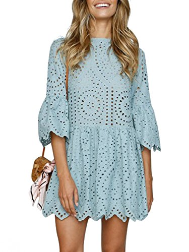 Simplee Women's Elegant Half Flare Sleeves High Waist Hollow Out Mini Dress, Sage Green, 4/6, Small