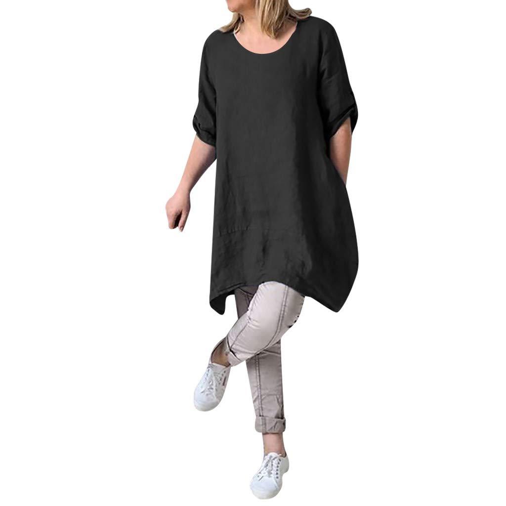 Bkkdd Ladies Summer Linen Dress,Women Summer Style Feminino Vestido O Neck Short Sleeve T-Shirt Dress Cotton Casual Plus Size Linen Dress (Blue, XXXXL)