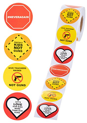Gun Control Stickers - 1000-Count Gun Control Stickers Roll for Rallies and Student/Parent Events, 4 Designs, 2