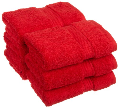 Superior 900 GSM Luxury Bathroom Face Towels, Made of 100% Premium Long-Staple Combed Cotton, Set of 6 Hotel & Spa Quality Washcloths - Red, 13 x 13 each