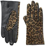 Adrienne Vittadini Women's Faux Calfskin and Leather Gloves, Leopard, Small