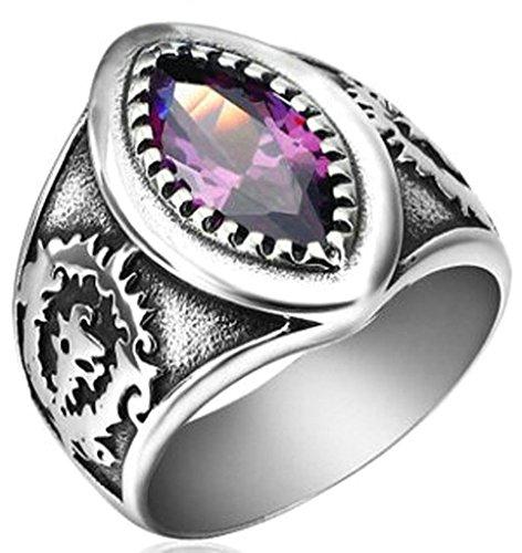 Gnzoe Jewelry, Mens Stainless Steel Wedding Rings Mysterious Geometric Shape,Purple Size 10