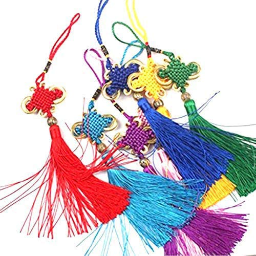 8pcs Silky Handmade 9.5inch Long Soft Tassels Chinese Knots for Wealth and Good Fortune for Home or Office or Car Hanging Decoration