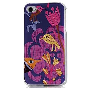 BestCool Transparente Rígida Case Cover Carcasa para iPhone 4 4S 4G Funda Dura Cubierta de PC Pintado los Pájaros Patrón Fondo Azul Oscuro Diseño de la Plástico Caja