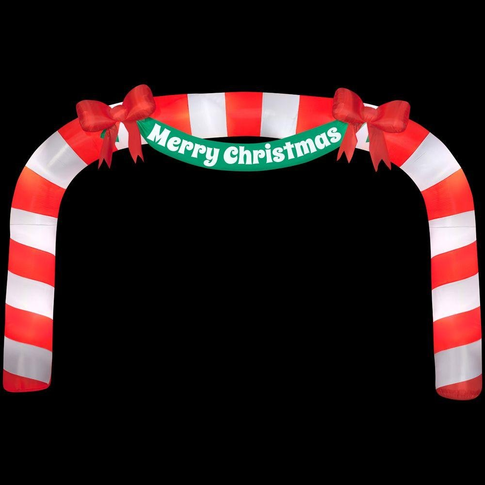 276.38 in. W x 39.37 in. D x 179.92 in. H Lighted Inflatable Archway Candy Cane by Home Accents Holiday