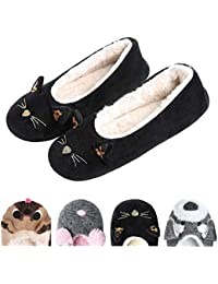 Women's Plush Winter Warm Animal Soft Cute Home Slippers Dog
