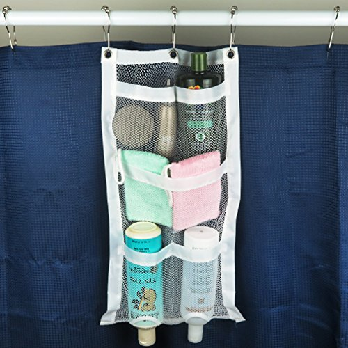 Evelots Quick-Dry Hanging Shower Caddy With Dispenser Pockets, 5 Pockets, White