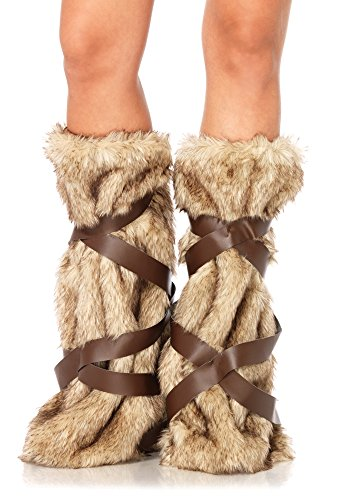 Make Your Own Sexy Costumes (leg avenue women's warrior faux fur leg warmers with faux leather wrap detail costume accessory, tan, one)