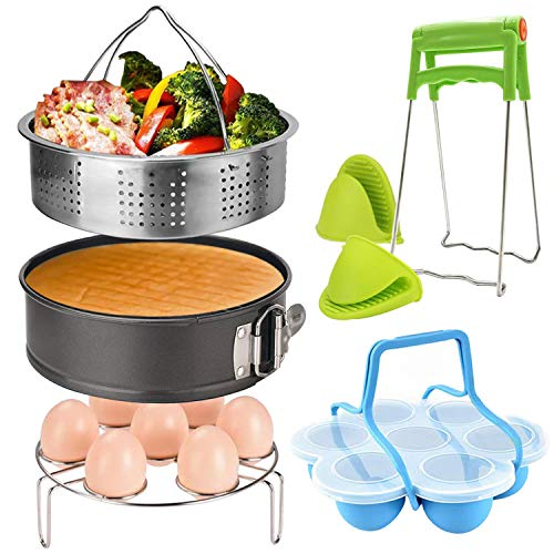 7 Piece Accessories for Instant Pot,Steamer Basket?Egg Steamer Rack,Non-stick Springform Pan,Silicone Egg Bites Molds,Dish-Clip,2 Mini Mitts,Perfect Pressure Cooker Accessories