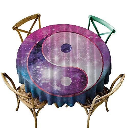 (Jbgzzm Waterproof Tablecloth Boho Chinese Symbol Peace Zen Bohemian Galaxy Outer Space Astronomy Infinity Starlights Art Table Decoration D71 Purple Pink Teal Navy White)