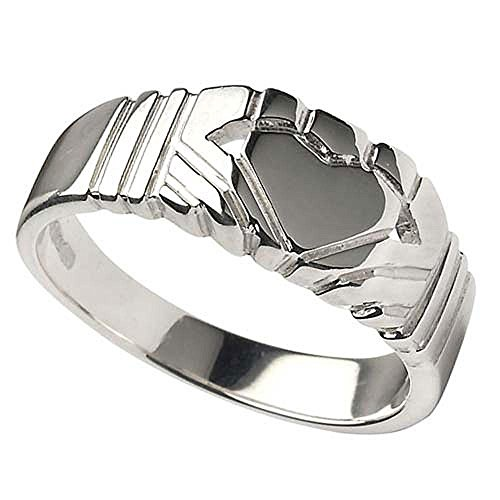 Sterling Silver Modern Irish Claddagh Ring For Men From Ireland