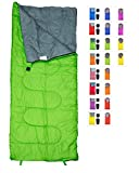 REVALCAMP Lightweight Green Sleeping Bag by Indoor & Outdoor use. Great for Kids, Teens & Adults. Ultra light and compact bags are perfect for hiking, backpacking, camping & travel.