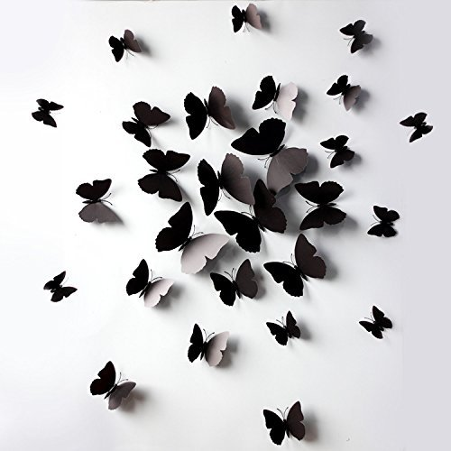 klicnow 3d black butterfly removable mural wall stickers wall decal for home decorblack