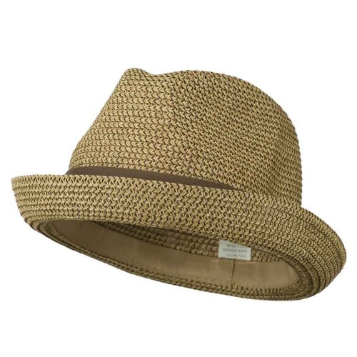 Men's Fedora with Paper Straw Braid - Tan - Fedora Hat Trilby Braid
