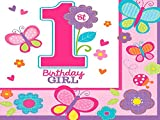 Amscan Sweet Girl 1st Birthday Flowers & Butterflies 2-Ply Luncheon Napkins Paper 6'' x 6'' Pack 18 Others Party Supplies (216 Piece)