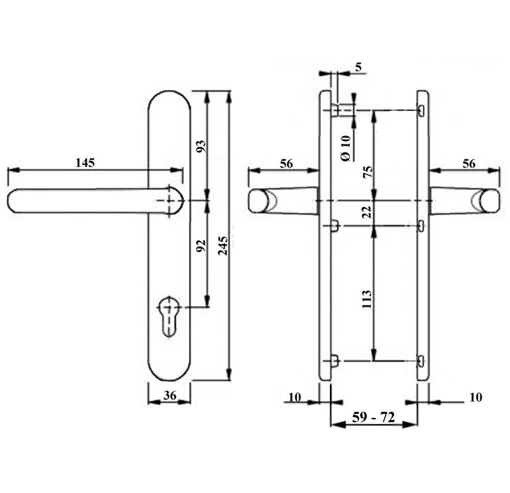 Schmalrahmen T/ürdr/ücker SRG 1602 Weiss PZ 92mm Dr//Dr Dr/ückergarnitur