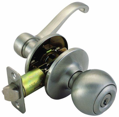 Design House 781849 Scroll 2-Way Latch Entry Door Knob and Handle, Adjustable Backset, Satin Nickel (Scroll Handle Finish)