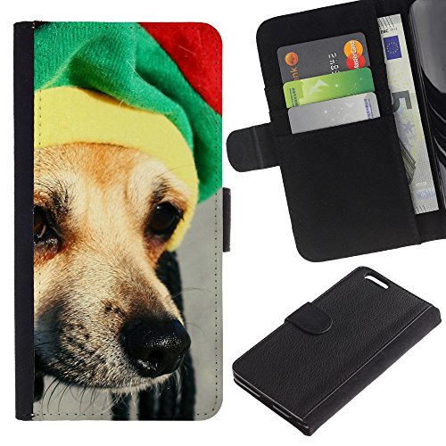 EuroCase - Apple Iphone 6 PLUS 5.5 - rasta hat dog chihuahua muzzle snout - Cuero PU Delgado caso cubierta Shell Armor Funda Case Cover