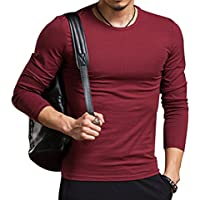 acba57f9d4b AKENA Men s Fashion Stretchy Crew Neck V-Neck Casual Long Sleeve T-Shirts  Tops