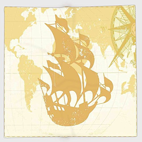 iPrint Polyester Bandana Headband Scarves Headwrap,Nautical,Double Exposure Vintage Graphic with Old World Map A Nostalgic Sailboat Compass Concept,Beige,for Women (Concept Two Premium Boat)