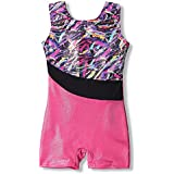 Leotards for Girls Gymnastics Kids Children Biketard Sparkles Ribbon Stripe Hot Pink